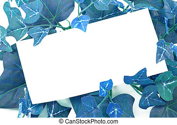 ivy notes - blank card on blue ivy plant background or...