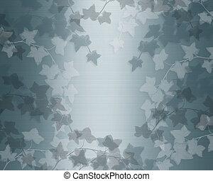 Ivy on teal blue satin background - Image and illustration...