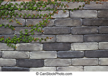 Ivy on the old brick wall background