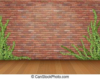 ivy red brick wall parquet floor