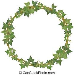 ivy round frame - round decorative frame of ivy branches