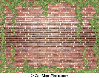 ivy winds on the red brick wall background