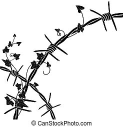 ivy with barbed wire - vector illustration with barbed wire ...