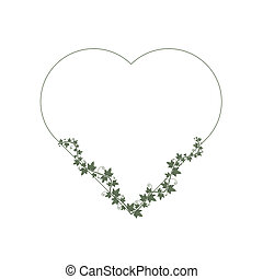 Ivy wraps around the frame in the shape of a heart. Suitable for invitation, cards, blog, highlights, wedding details. Place for text.