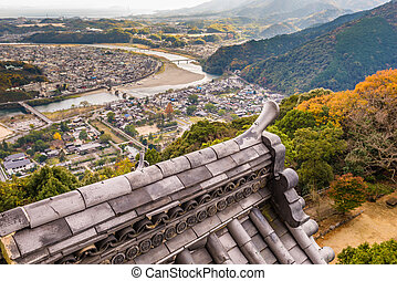 Iwakuni, Japan town view from the castle tower.