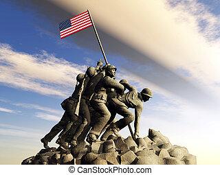 iwo, 纪念碑, jima, 战争