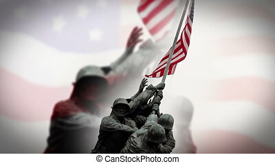 Iwo Jima Memorial and Flag - Iwo Jima Memorial and American...