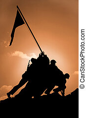 Iwo Jima Memorial at Sunrise - Iwo Jima National Memorial at...