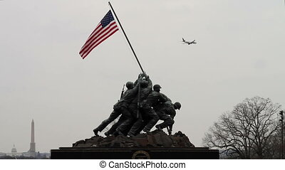 Iwo Jima Memorial Plane in background overcast day 30 FPS