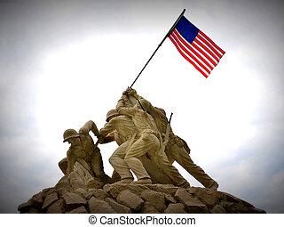 Sept. 2013 - Replica of Iwo Jima statue at the entrance to Quantico Marine Corps Base, Quantico, VA.