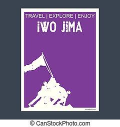 Iwo Jima, USA monument landmark brochure Flat style and typography vector