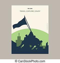 Iwo Jima, USA Vintage Style Landmark Poster Template