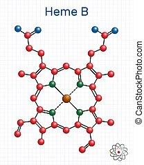 ix, b, ihm, papier, hämoglobin, cage., blatt, enzymes., protoheme, chemische , formel, peroxidase, familien, komponente, cyclooxygenase, molekül, heme, strukturell, haem, myoglobin, molecule., modell