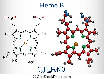 ix, cyclooxygenase, familien, myoglobin, hämoglobin, b, molekül, enzymes., protoheme, ihm, heme, chemische , haem, komponente, molecule., formel, peroxidase, modell, strukturell