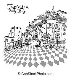 ix, itália, piazza, sicília, taormina, aprile