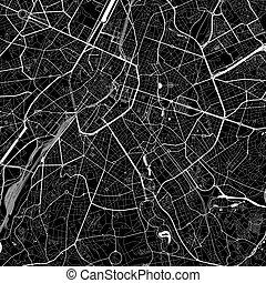 ixelles, 地図, ベルギー, 区域