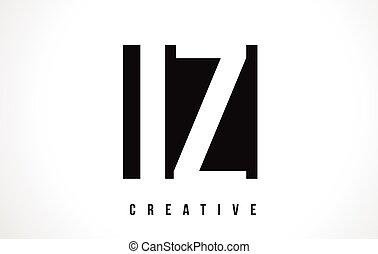 IZ I Z White Letter Logo Design with Black Square.