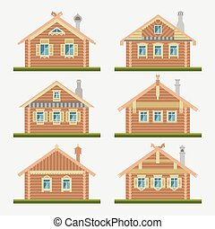 Set of vector flat style facades of old russian log houses. Ancient huts architectural symbols and design elements. Detailed collection for product promotion and advertising isolated on grey background