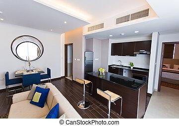 izba, nowoczesny, -, rozwalanie się, wewnętrzny, kuchnia