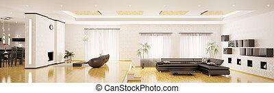 izba, render, panorama, nowoczesny, wewnętrzny, 3d