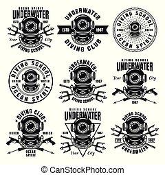izbogis, állhatatos, emblémák, vektor, kilenc, merülés, fekete
