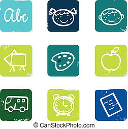 izbogis, állhatatos, &, szórakozottan firkálgat, ikonok, hát, elszigetelt, alapismeretek, fehér
