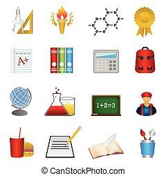 izbogis, és, oktatás, ikon, állhatatos