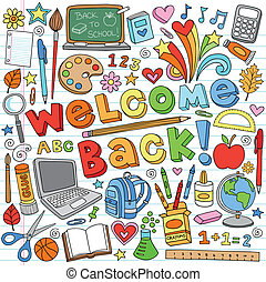 izbogis, doodles, osztályterem, anyagi készletek