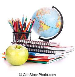 izbogis, földgolyó, concept., hát, accessories., jegyzetfüzet, pencils., iskolás gyerek, diák, tanulmányok, kazal