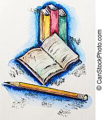 izbogis, fogalom, slate-pencil, vízfestmény, előjegyez, oktatás, festmény, ceruza