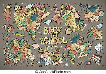 izbogis, kéz, jelkép, vektor, doodles, húzott, oktatás