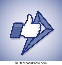 izbogis, like/thumbs, feláll, jelkép, ikon, noha, vonalzó