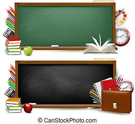 izbogis, school., két, hát, supplies., vector., szalagcímek