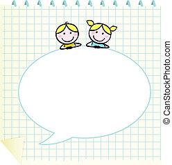 izbogis, szórakozottan firkálgat, notepad, beszéd, tiszta, buborék, gyerekek