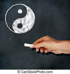 izbogis, tábla, és, yin-yang, jelkép