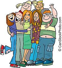 izbogis, tizenéves kor, csoport, odaad, egy, átkarolás