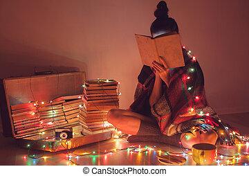izgalmas, éjszaka, well-read, lány olvas, home.