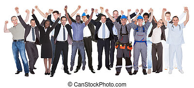 izgatott, emberek, noha, különböző, foglalkozás, misét...