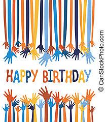 izgatott, kézbesít, születésnap kártya, design.