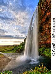 izland, hdr, vízesés, napnyugta, seljalandfoss