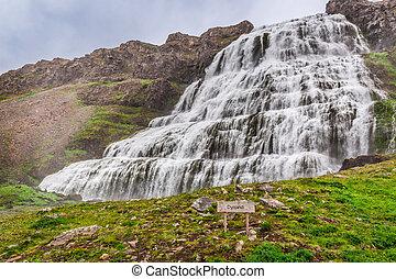 izland, vízesés, dynjandi
