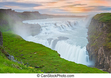 izland, vízesés, napnyugta, gullfoss