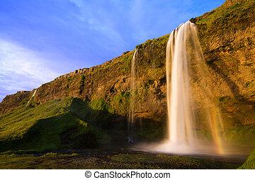 izland, vízesés, napnyugta, seljalandfoss