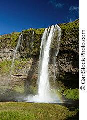 izland, vízesés, seljalandfoss