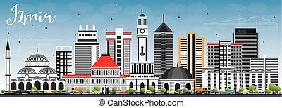 Izmir Skyline with Gray Buildings and Blue Sky.