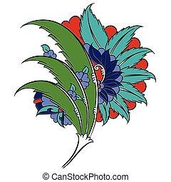 Iznik style floral drawing
