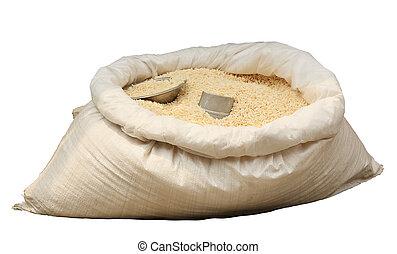 izolál, műanyag táska, háttér, white rizs