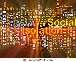izolacja, jarzący się, pojęcie, tło, towarzyski