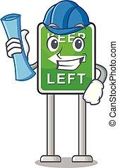 izquierda, caricatura, aislado, arquitecto, retener, mascota