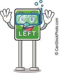 izquierda, caricatura, aislado, buceo, retener, mascota